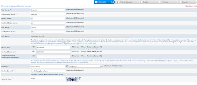 SBI Bank PO Online Application Form