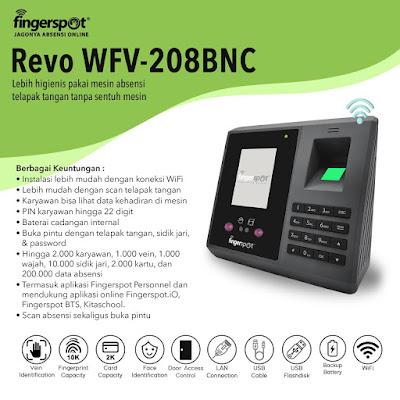 Mesin absensi telapak tangan Revo WFV-208BNC