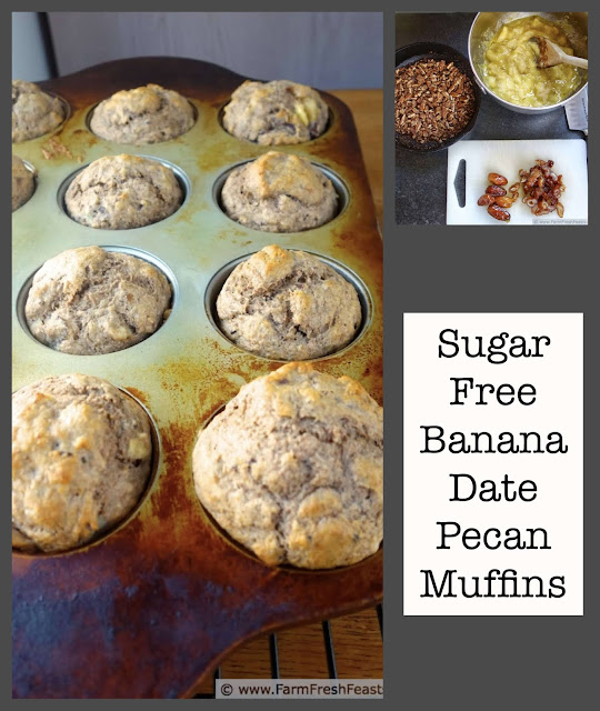 A naturally sweetened whole grain muffin full of bananas, dates, and toasted pecans.