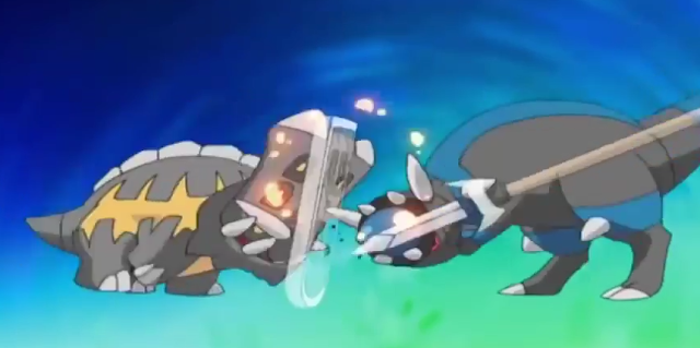 Pokémon anime Bastiodon vs. Rampardos Ancient Family Matters shield spear