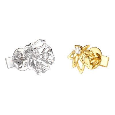 Bông tai Vàng 10K đính đá ECZ Swarovski PNJ Hoa Sen