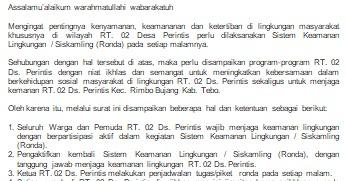 Surat Edaran Rt 02 Desa Perintis Kec Rimbo Bujang Kab