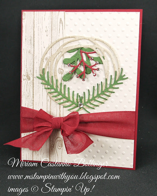Miriam Castanho-Bollinger, #mstampinwithyou, stampin up, demonstrator, mm, christmas card, swirly scribbles thinlits, pretty pines framelits, perfect polka dot, big shot, hardwood background stamp, su
