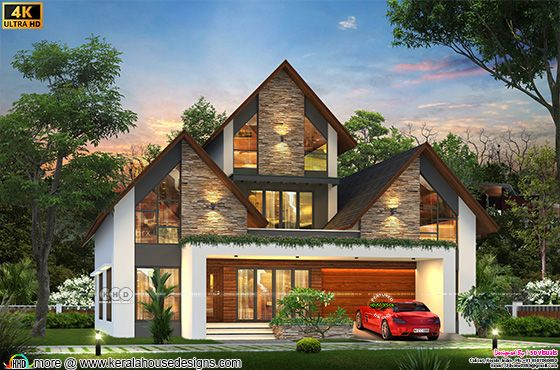 4 bedroom style sloping roof house