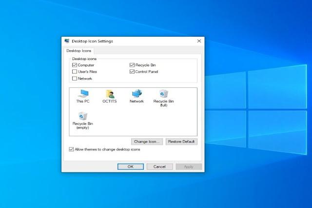 Desktop icon settings for your desktop screen