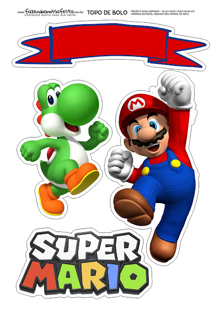 Super Mario Bros Birthday Party: Free Printable Cake Toppers.