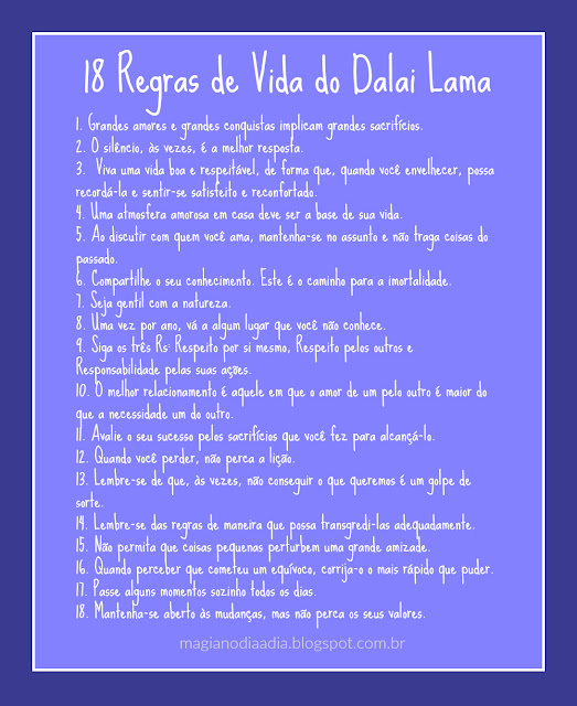 18 regras de vida do dalai lama