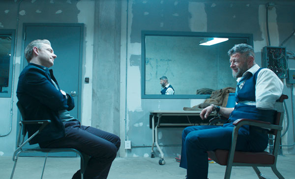 Martin Freeman and Andy Serkis in BLACK PANTHER (2018)