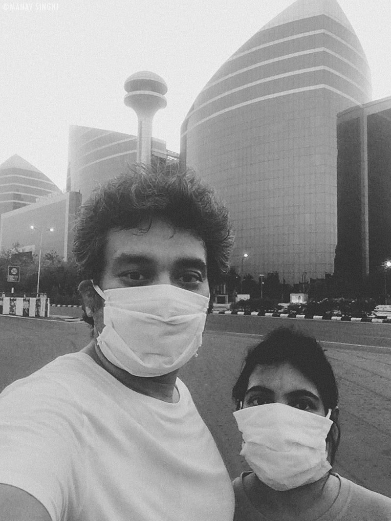 This was a Mobile Selfie of us which we took in front of World Trade Park, Jaipur. When we went for early morning walk after breaking the Lockdown on 29-April-2020.