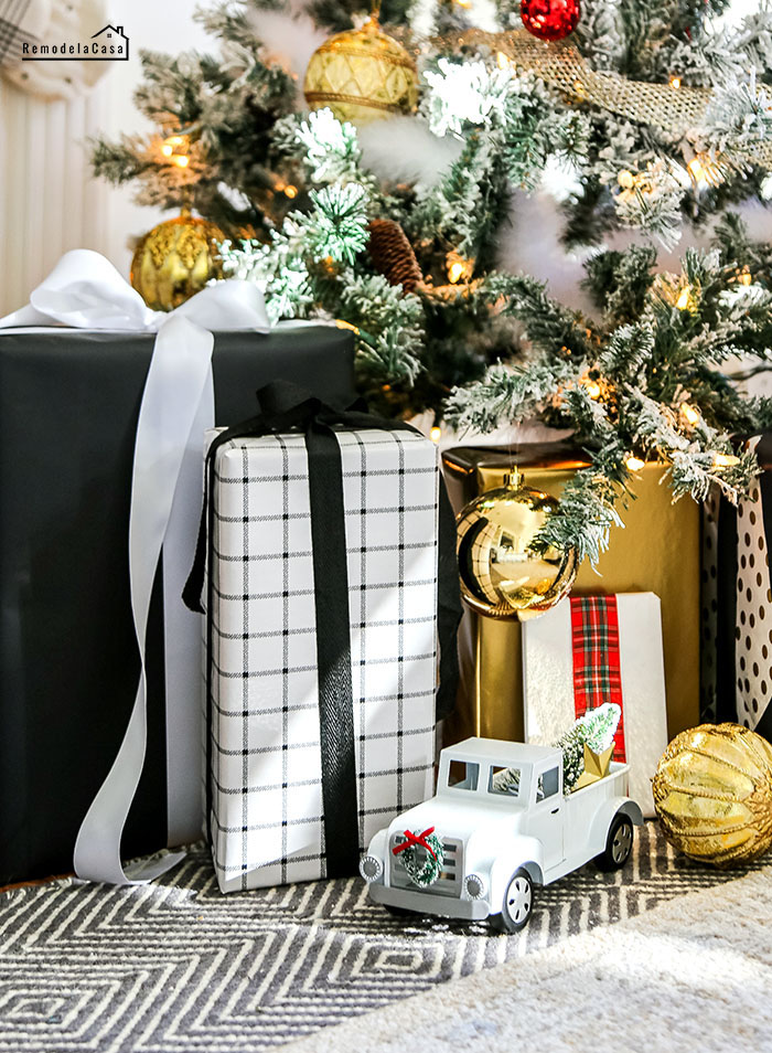 Black and white Christmas gifts and little truck