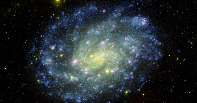The galaxy NGC 300, home to the unusual system Binder and her colleagues studied. The spiral galaxy is over 6 million light years away.NASA/JPL-Caltech/OCIW