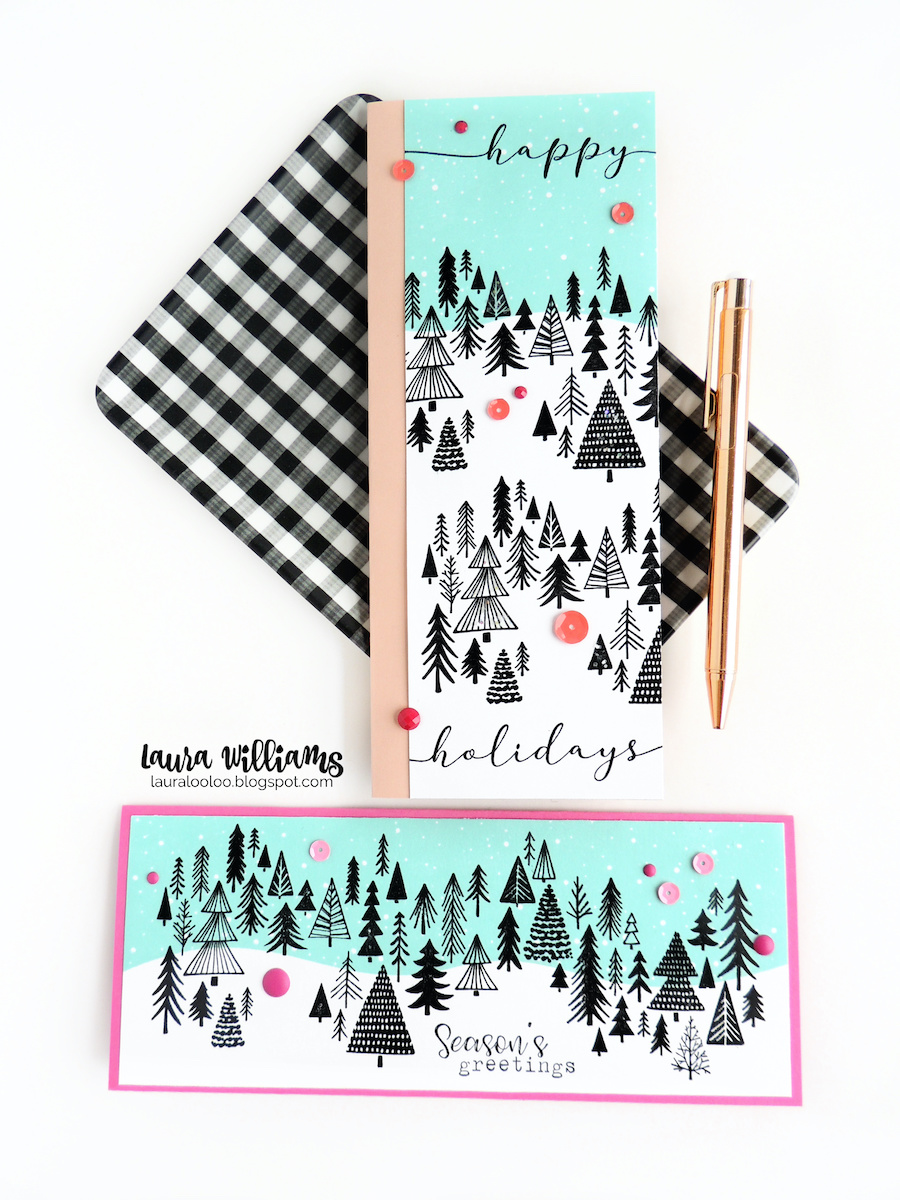 Two slimline card ideas for Christmas and winter, featuring the Slim Scenes stamps from Impression Obsession