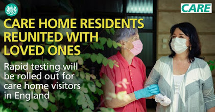 Rapid testing for care home visitors elderly lady with relative