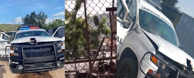 VIDEO.- Sicarios del CJNG emboscando a Guardia Nacional le perforaron el cofre a la Camioneta un muerto y 3 heridos Black Hawk los traslada a Hospital Militar