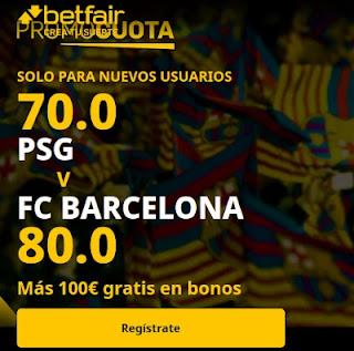 betfair promocuota champions PSG vs Barcelona 10 marzo 2021