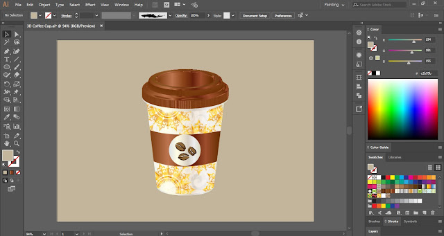 3D Coffee Cup in Adobe Illustrator