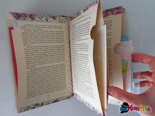 organizzare materiale creativo in tasche realizzate con un libro