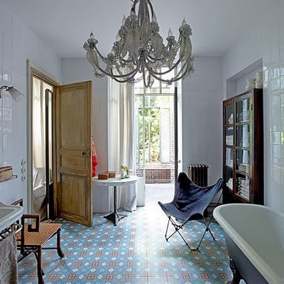French style bathroom design patterned floor tiles and freestanding tub
