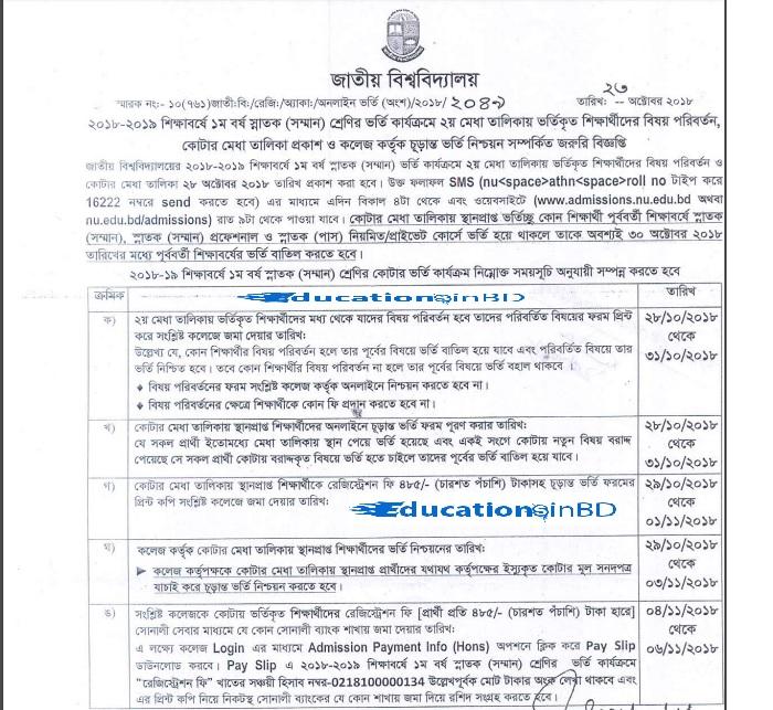 National University Honours Release Slip Application Result 2