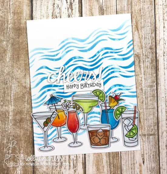 Summer Cocktail card with magnets by Holly Endress | Cocktail Mixer Stamp Set and Essential Alphabet Die Set by Newton's Nook Designs | Magnet tape and adhesive by Xyron #newtonsnook #xyroninc