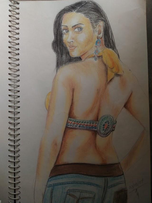 Dry Pastel drawing modern lady