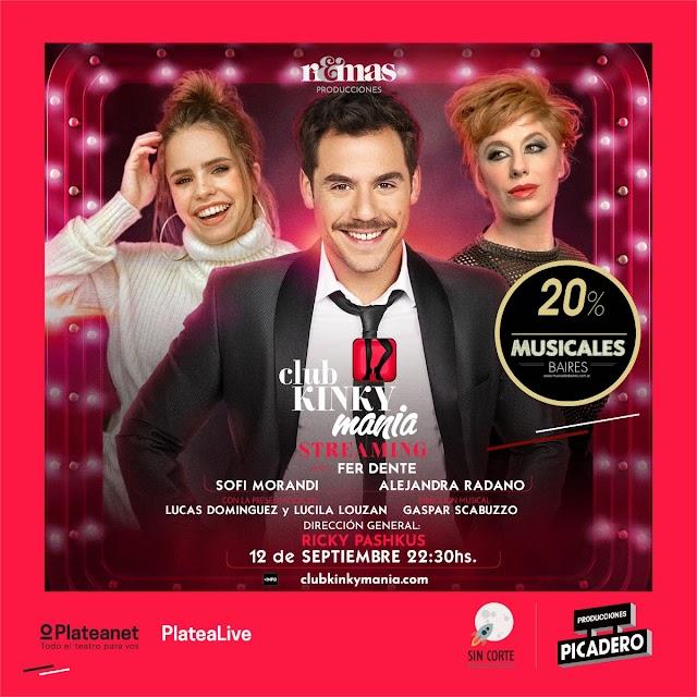 Club Kinkymania con Fernando Dente - Alejandra Radano y Sofi Morandi Sábado 12 Septiembre 22.30 hs. 20% Off con La VIP MB