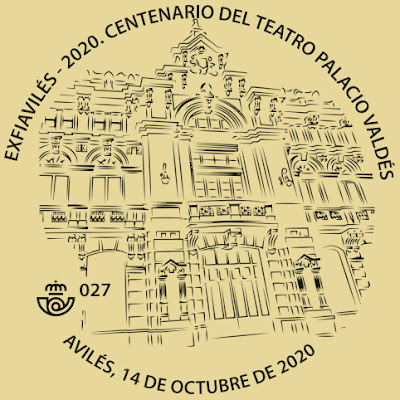 Avilés, teatro, Palacio Valdés, matasellos, filatelia