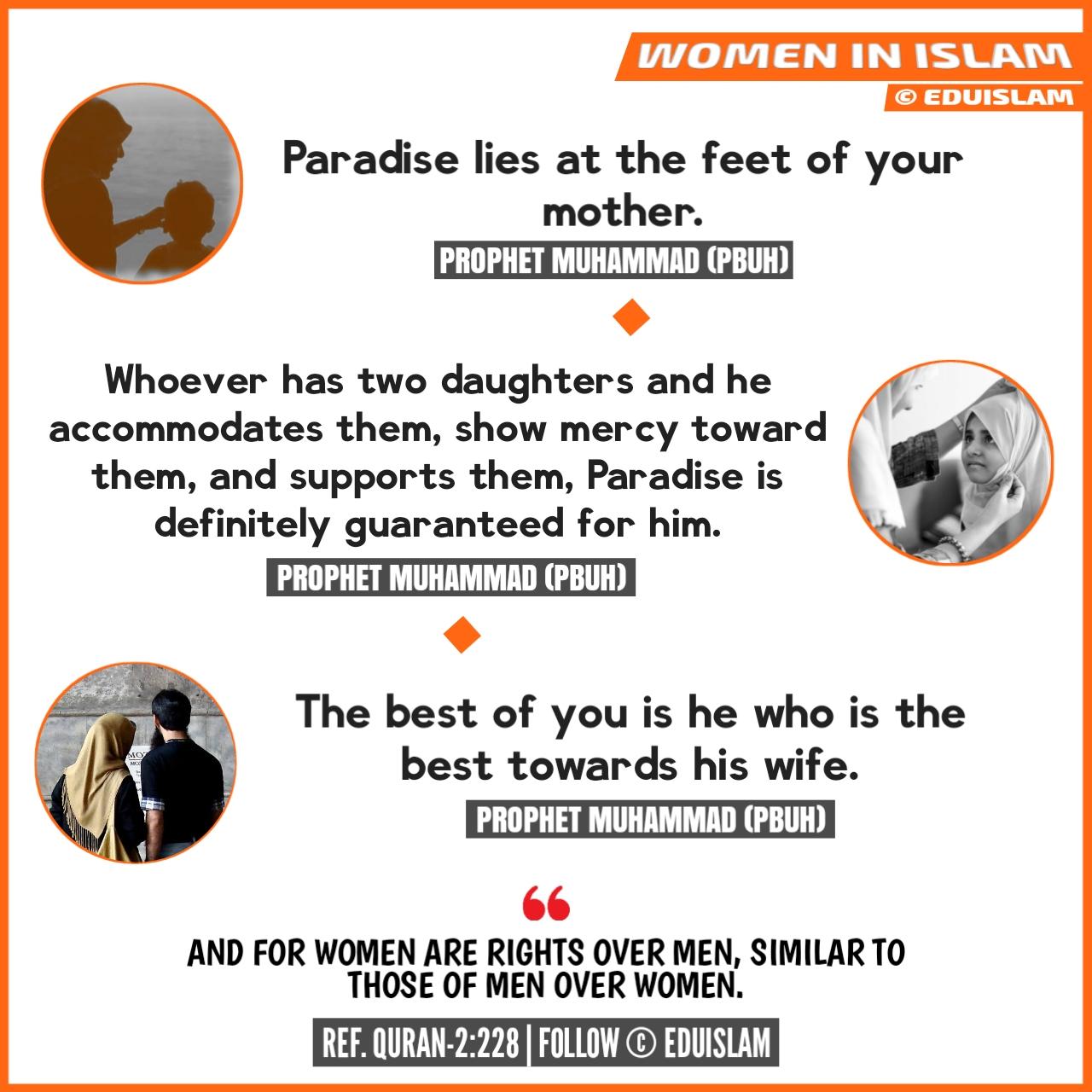 Status of women in Islam, International Women's day and Islam, Islamic quotes, mother in Islam, daughter in Islam, hadith about wife, hadith about mother, importance, role, Muslim women, EduIslam