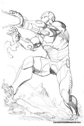 mewarnai gambar robot iron man