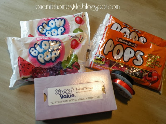 Materials for tootsie pop ghosts - Halloween treats