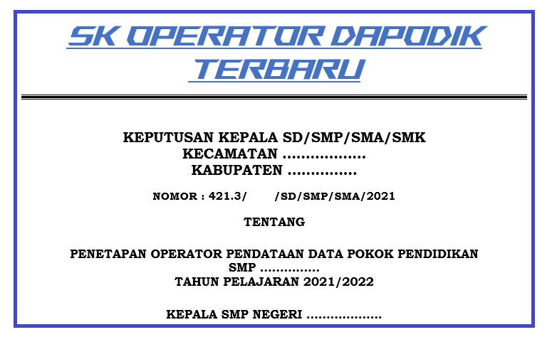 gambar sk operator dapodik 2021 2022