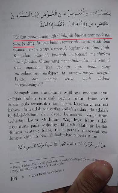 """""""kajian tentang imamah/khilafah bukan termasuk hal yang penting. ..."""" (Hizbut Tahrir dalam Sorotan, hlm 104)"""