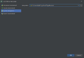 New Project dialog box and select set existing interpreter