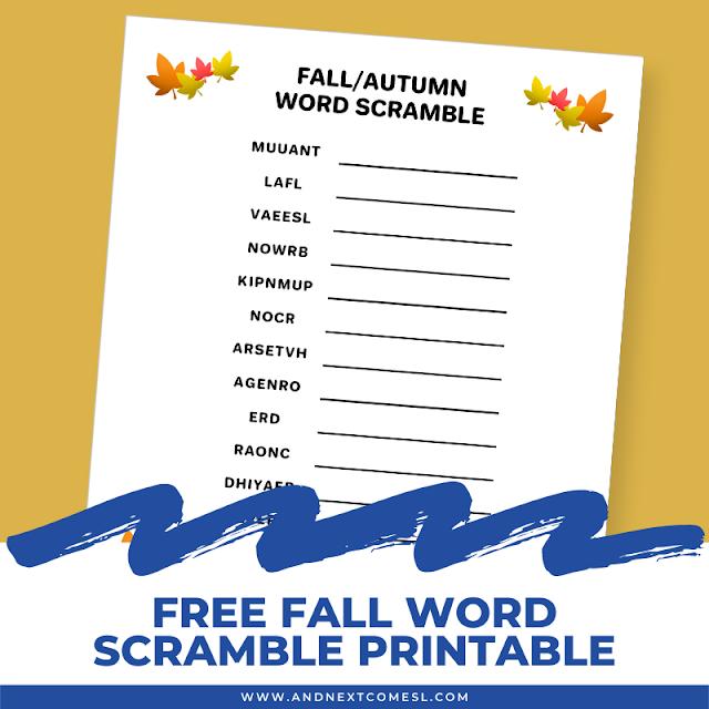 Free printable fall word scramble for kids