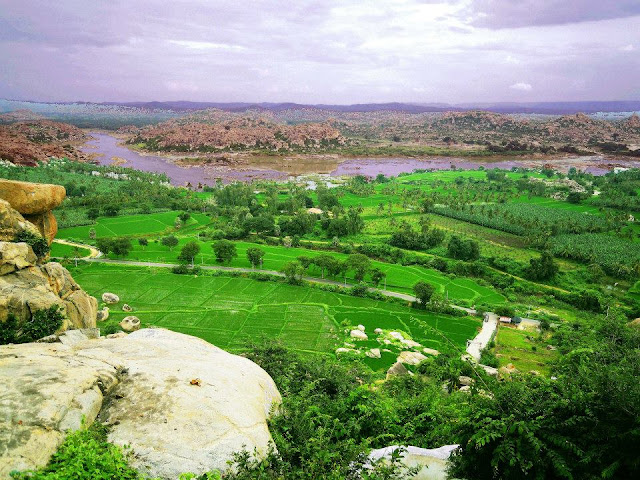 A view of the Tungabhadra river from the Hanuman Temple, Hampi.