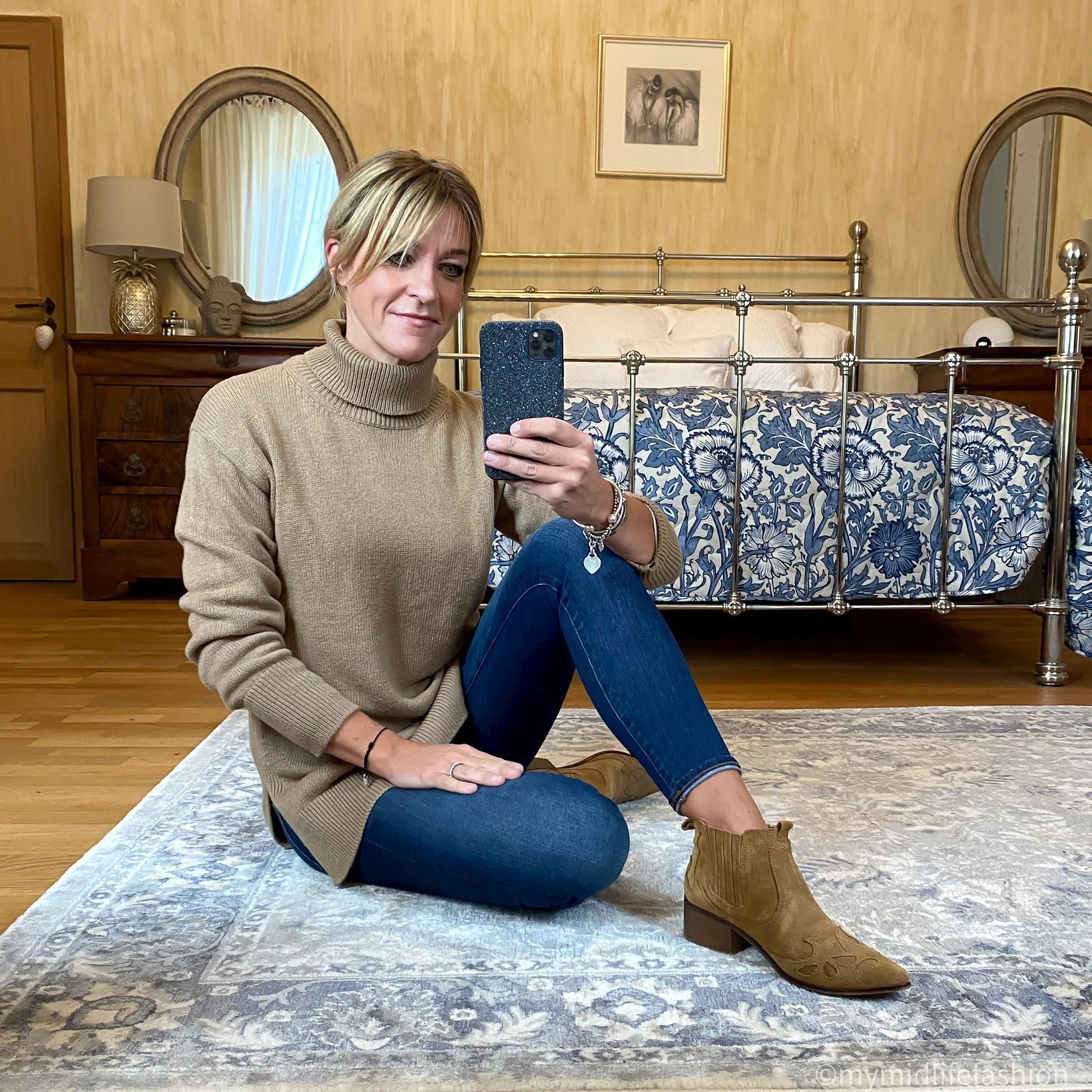 my midlife fashion, baukjen Tamara Jumper, j crew 8 inch toothpick skinny jeans, zara western heel ankle boots