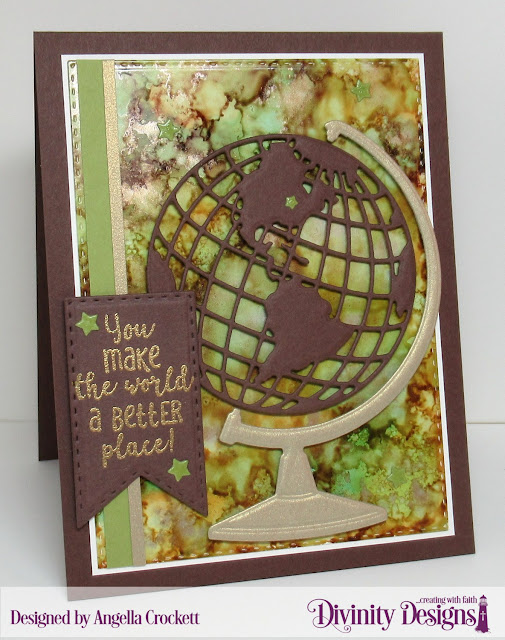 Divinity Designs: Color My World, Globe and Stand Dies, Double Stitched Pennant Flags Dies, Double Stitched Rectangles Dies, Card Designer Angie Crockett