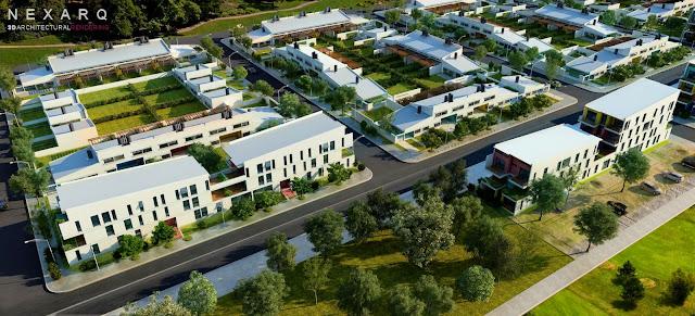 Render arquitectura vista aérea proyecto urbano