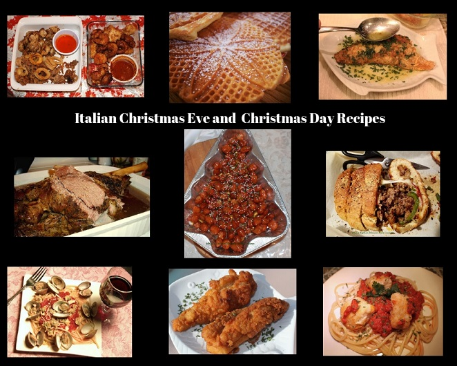 this is a collage of all the holiday foods we prepare in an Italian Household for Christmas Eve and Day