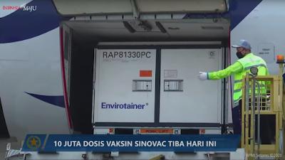 Tahap Ke-17, Sepuluh Juta Bahan Baku Vaksin COVID-19 Sinovac Tiba di Indonesia