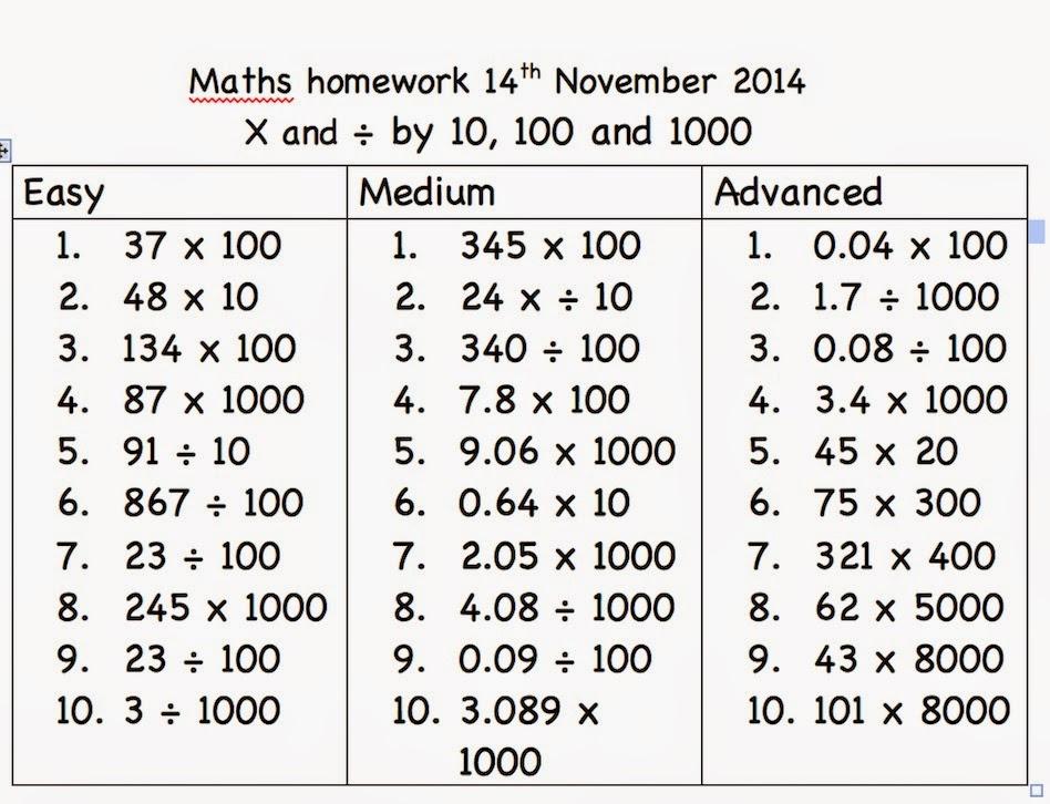 Year 4 maths homework | Year 4 NAIS HK