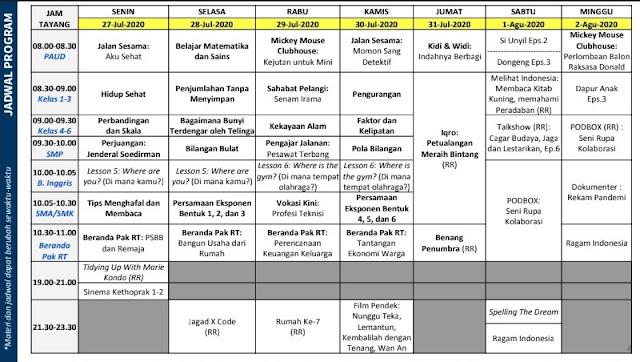 Materi dan Jadwal Belajar Dari Rumah TVRI Minggu ke Tiga 27-02 Agustus 2020 Paud, SD, SMP, dan SMA