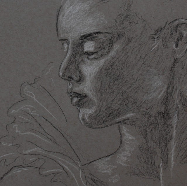 lady, ruff, sarah, myers, art, arte, artist, fashion, clothes, charcoal, conte, figurative, classical, face, head, shadow, young, woman, frill, ruffle, glance, eyes, drawing, sketch, dessin, dibujo, contemporary, modern, artwork, neck, collar, detail, close-up, mouth