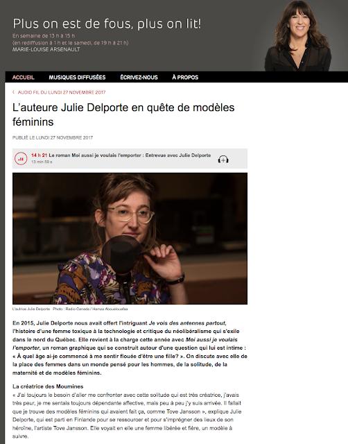http://ici.radio-canada.ca/premiere/emissions/plus-on-est-de-fous-plus-on-lit/segments/entrevue/48847/julie-delporte-feminisme-bd-roman