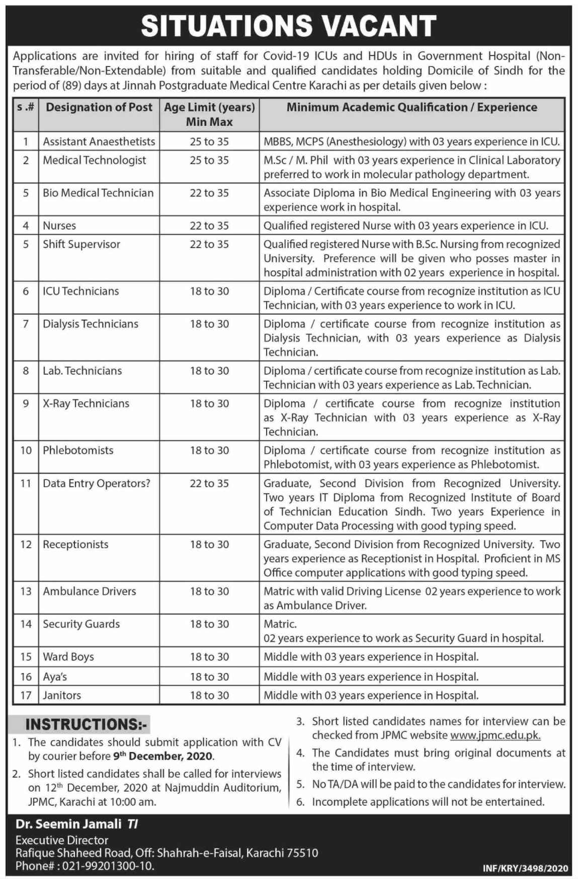 Jinnah Postgraduate Medical Centre JPMC Karachi Jobs 2020 for COVID-19 | Only Sindh Domicile