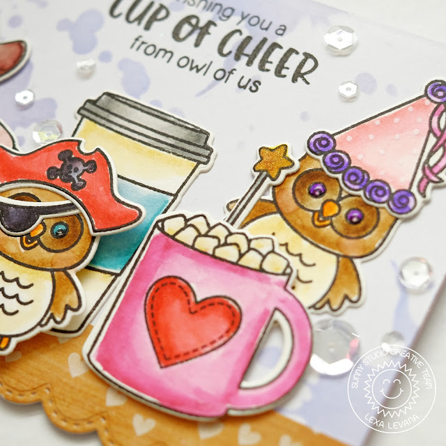 Sunny Studio Stamps: Mug Hugs & Happy Owl-o-ween Card by Lexa Levana.