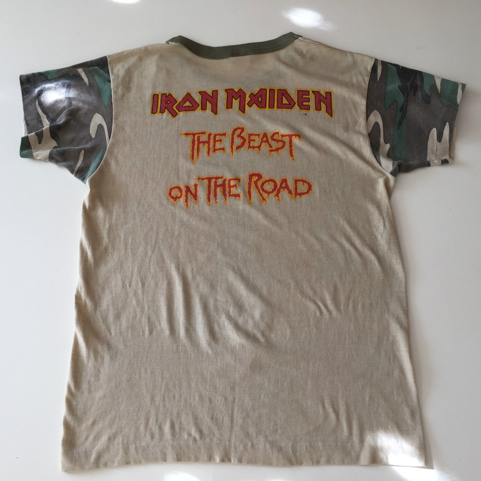 d7f7cfd6 Original iron maiden the beast on the road camo tour shirt 1982 ...