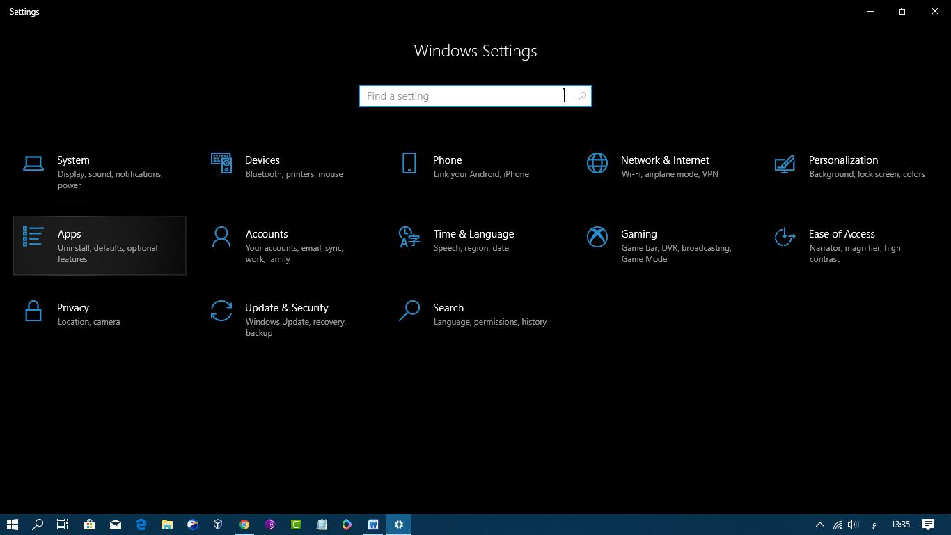 ازالة برامج ويندوز 10