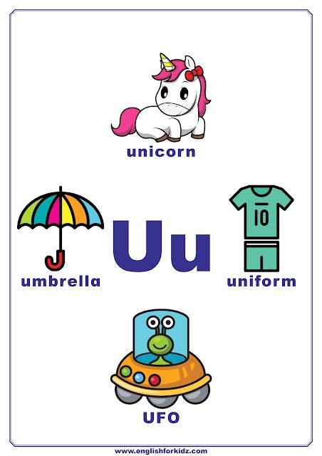 English alphabet poster - letter U