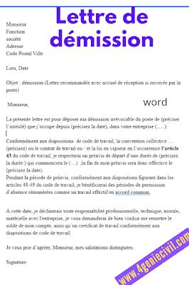 Lettres de démissions standards.